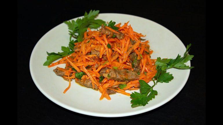 Приготовление салата с говядиной